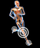 Running man seen by x-raywith pain in the legs Royalty Free Stock Photography