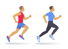 The running man set. Flat vector illustration. The running man set. Side view of active sporty running young men in a sportswear. Sport, jogging, fitness Royalty Free Stock Photo