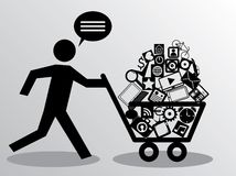 Running man with shopping Royalty Free Stock Images