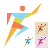 Running Man - Sport Sign. The logo in geometric style for any company Stock Photography