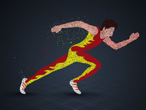 Running Man for  Sports concept. Running Man Athlete made with dots, Creative  illustration for Sports concept Stock Photo