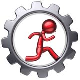 Running man stylized red character inside black gear wheel. Running man stylized red character inside gear wheel human rotate cogwheel cartoon guy hamster person Royalty Free Stock Image