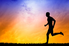 Running man at sunset Royalty Free Stock Photography