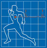 Running man symbol cardiovascular medicine Stock Photo