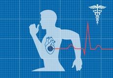 Running man symbol cardiovascular medicine Stock Photography