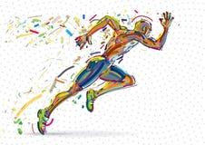 Running man. Vector artwork in the style of paint strokes vector illustration
