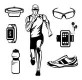Running Man Vector Illustration. Running Gear. Accessories for Run for Outdoor Cardio Workout Stock Image