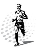 Running man vector symbol. Outlined stylized silhouette, sport and activity concept Stock Images