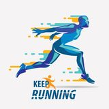 Running man vector symbol. Sport and competition concept background Royalty Free Stock Images
