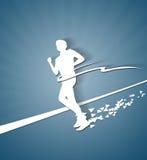 Running Man white paper silhouette Stock Photo