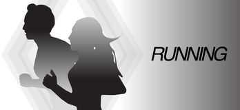 Running man and woman banner background. Running man and woman black and white banner background Royalty Free Stock Photography
