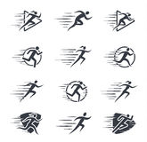 Running Man and Woman Icons with Motion Trails Stock Image