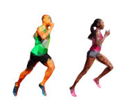 Running man and woman, polygonal silhouettes. Running man and woman, polygonal abstract polygonal silhouettes. Running people Royalty Free Stock Photography