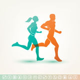 Running man and woman silhouette Stock Image