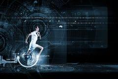 Running man. Young running man against digital media background Stock Image