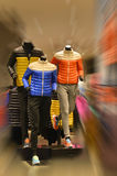Running mannequins, sportswear mannequins,in Sports clothing store. In boutique shop. sport suit store sale window display with mannequins in  shopping mall in Stock Photos