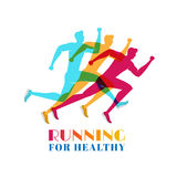 Running marathon colorful. Set of silhouettes sport and activity. Concept of running for healthy. Royalty Free Stock Images