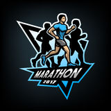 Running marathon, emblem. Stock Photography
