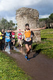 Running Marathon of the Epiphany, Rome, Italy. Runners on course during Marathon of the Epiphany in Parco Degliacquedotti, Rome, Italy Stock Images