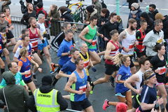 Running marathon exercise sport healthy runners. A big group of runners competing in the Brighton half marathon race in Sussex, England Stock Image