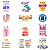 Running marathon logo badge emblems lmotivation phrases for sport maraphone runner vector illustration. Active lifestyle logo Stock Photo