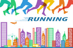 Running marathon people colorful illustration. stock illustration