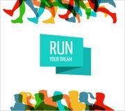 Running marathon, people run, colorful poster Stock Photos