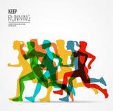 Running marathon, people run, colorful poster Stock Photography