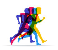 Running marathon, people run in different positions. Colored sil Royalty Free Stock Image