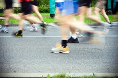 Running in marathon, sport shoes Stock Photos