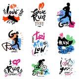 Running, marathon, triathlon logo and illustrations. Vector illustration. Fitness, athlete training symbols, figures. Sprint, Jogging, handmade illustration Stock Images
