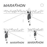 Running marathon vintage logo Royalty Free Stock Photos