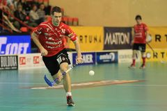 Running Martin Richter - floorball Stock Photos