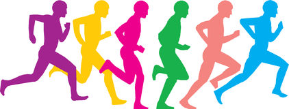 Running men. Usages for sports section at athletic vector illustration