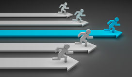 Running men. 3d image of arrows with a blue man and other white running over it Royalty Free Stock Images