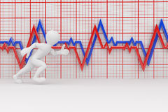 Running men and chart heartbeat. 3d Vector Illustration