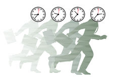 Running men with clocks as heads. Illustration of running businessmen with clocks on their heads symbolizing stress and hurry under a deadline vector illustration
