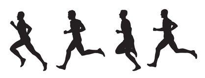 Running men, set of vector silhouettes Stock Image