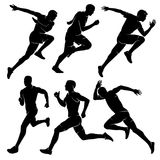 Running men. Sport. Vector illustration. Marathon runners. A set of four men or guys running. Marathon runners Stock Photography