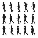 Running men and women Silhouette vector collection. Running silhouettes vector collection on the white background Royalty Free Stock Photos