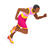 Running 100 Metres Dash of Athletics Olympics  Sports Icon Set.Speed Concept.3D Isometric Athlete.Sport of Athletics.Sporting Stock Photos