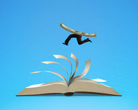 Running money on top of flipping pages of open book. Isolated in blue background, 3D rendering Stock Image