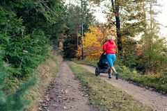 Running mother with stroller enjoying motherhood at autumn sunset stock photography