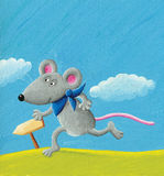Running mouse. Acrylic illustration of running mouse Royalty Free Stock Image