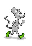 Running Mouse. Little grey mouse running in green shoe Royalty Free Stock Image