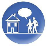 Running Office. There are a man and a woman running office or theyr home, the woman is speaking, in the balloon you can write what you want Stock Photography