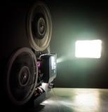 Running Old film projector. In dark room Stock Image