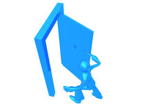 Running out Blue Boy. A 3D character running out trough the door, isolated on a white background Stock Photos