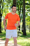 Running in a park Stock Image