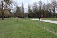Running in park stock image